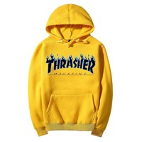 """Thrasher""Quality hooded sweater flame slide hip sweater Yellow"