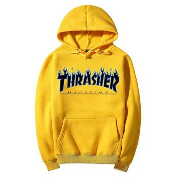 Thrasher autumn and winter tide brand classic print logo couple models hooded sweater