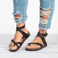 Lace Up Black Footbed Sandals