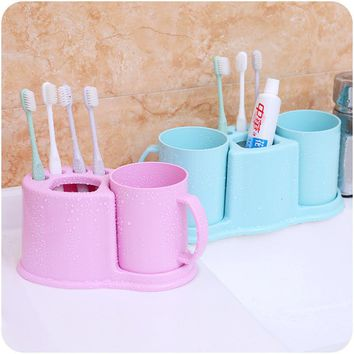 Useful  Bathroom Toothbrush Toothpaste Cups Storage Racks Holder Cup Toothbrush Box Tooth Toothpaste Cup Storage Shelves