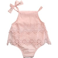 Girls Lace Infant Bodysuit Baby Romper