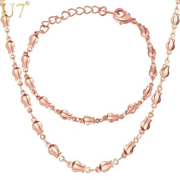 U7 Necklace Set Bracelet Women Exquisite Jewelry Sets Gift Silver/Gold/Rose Gold Color Tiny Flower Link Chain Jewellery S1019