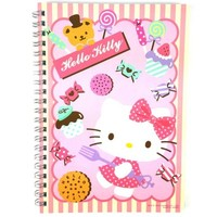 Sanrio Hello Kitty College Spiral Stripe Notebook : Cake $5.49