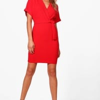 Kerry Wrap Over Belted Dress | Boohoo