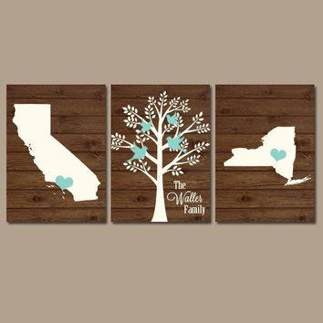 Two States Family Tree Canvas or Prints Personalized Wall Art, Custom Wedding Gift, Last Name Date Tree Birds Set of 3 Couples Gift Pictures