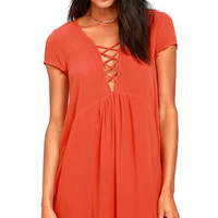 Amuse Society Ludlow Coral Red Babydoll Dress