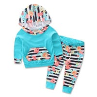 2017 New Fashion 2 Pieces Newborn Baby Clothes Sets Winter Autumn Suit Hat Pattern Flowers Boys Girls Cotton Full Sleeve Colors