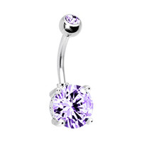 Belly Ring Big Cubic Zirconia Lavender Belly Button Ring 14G with 1 Belly Retainer