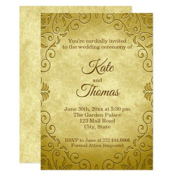 Wedding Invitation | Antique Golden Flourish