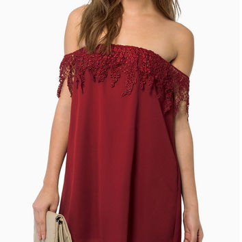 Lace Off-Shoulder Chiffon Mini Dress
