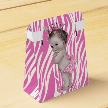 Pink Vintage Princess Baby Shower Zebra Pattern Favor Boxes