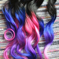 Ombre Hair Extensions, Electric Light, Purple, Pink and Blue Hair, Human Hair Extensions, Clip in Hair, Dip Dyed Hair Tips, Ombre Hair Wefts
