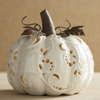 Large Ceramic Ivory Pumpkin Tealight Candle Holder
