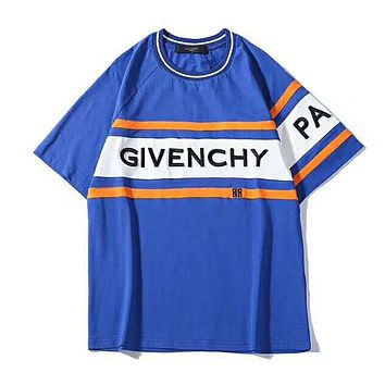 GIVENCHY Summer Fashionable Women Men Casual Print Round Collar T-Shirt Top Tee Blue