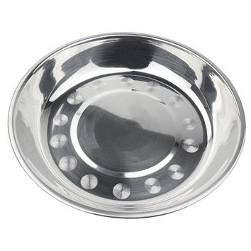 EZLIFE Stainless Steel Dinner Plate Solid Round Dinner Plate Kitchen Bowl Tool Shallow Dish For Fruit Dumpling Or Barbecue GF108