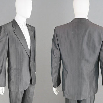 Vintage 80s CHRISTIAN DIOR Monsieur Grey Silk Suit Made in Italy Mens Two Piece Suit Designer Suit Paris Shiny Suit Blazer Straight Leg Pant