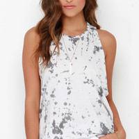 Obey Paige Grey and Ivory Tie-Dye Top