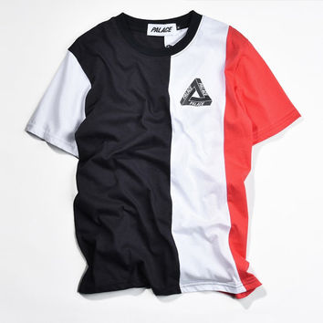 Palace Vertical TRI STRIPE Skateboard vintage Men Women Fashion T-shirts Triangle Funny T shirt GD Hip Hop Crop Top Harajuku Tee
