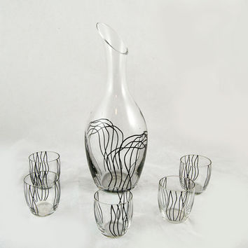 Vintage Black Swirl Liquor Decanter with Five Shot Glasses