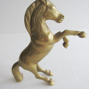Vintage Solid Brass Horse Sculpture Figurine Horse Equestrian Home Decor Decorative Country Western