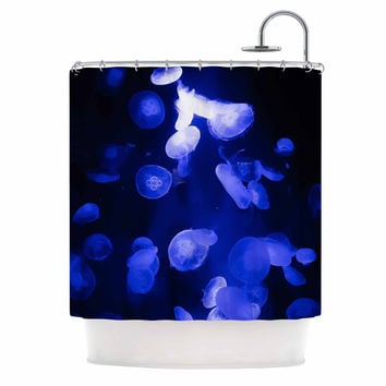 "Juan Paolo ""Jellyfish Blue"" Blue Black Shower Curtain"