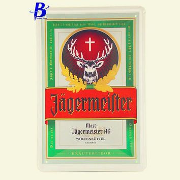 Wand Decoratie Vintage Tin Metal Signs Jagermeister Wall Stickers Decor Iron Retro Tin Metalpainting Plaques Neon Beer Sign Ajax