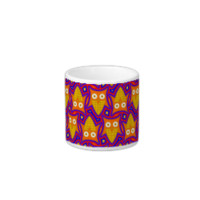 Blue and Orange Owl Pattern Espresso Cup