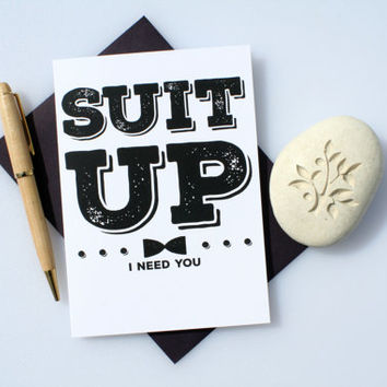 Funny Groomsman Card, Funny Best Man Card, Best Man Card, Groomsman Card, Wedding Card, Will You Be My, Groomsman, Best Man, Suit Up