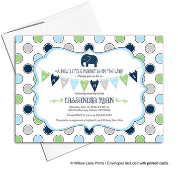 Elephant baby shower invitations for boys | boy baby shower themes | navy, blue, green and gray | printable or printed - WLP00740