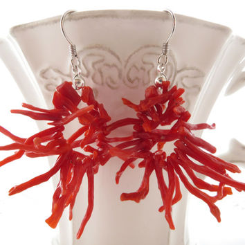 Red coral earrings, coral branch earrings, uk dangle earrings, italian coral, sterling silver 925, torre del greco coral jewels