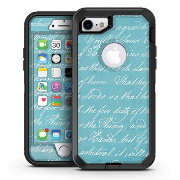 The Teal 18th Century Script - iPhone 7 or 7 Plus OtterBox Defender Case Skin Decal Kit