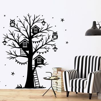 Wall Vinyl Decal Magic Tree Branch Star Owl Fairy Tale Decor Unique Gift z3800