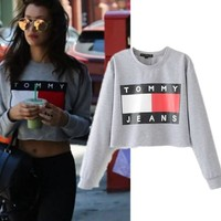 Print Crop Top Hoodies [11877149139]
