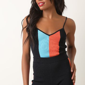 Colorblock Sweater Knit Crop Top with Side Striped Shorts Set