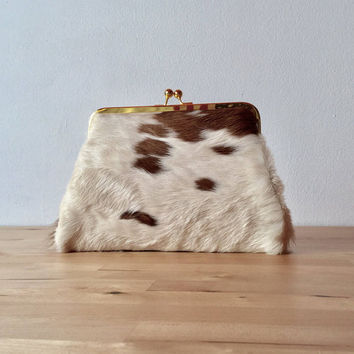 Calf hair clutch, hair on hide bag , cowhide cutch, calf hair bag,  leather clutch, frame clutch, kiss lock frame purse, fur clutch