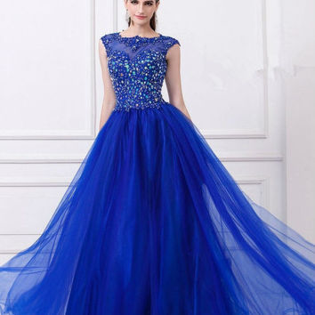 2014 New Custom Size Long Lace Backless Crystals Tulle Prom vestido de festa Bridesmaid Dress Wedding Party Gown