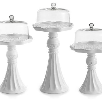 Asst of 3 Cake Pedestals w/ Domes, Cake Stands & Tiered Trays