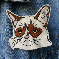Grumpy Cat Embroidered Brooch/Patch