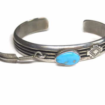 Vintage Navajo Sterling Turquoise Feather Cuff Bracelet Ray King