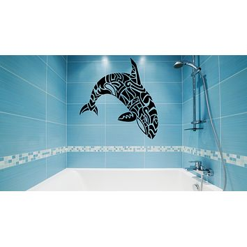 Wall Decal Dolphin Whale Fish Patterns Bathroom Sea Ocean Vinyl Sticker (ed1486)