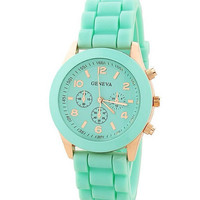 Jelly Silicone Geneva Mint & Gold Watch