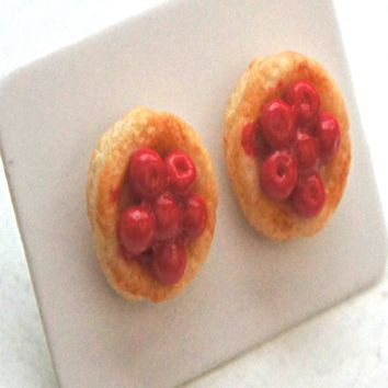 cherry sponge cake earrings