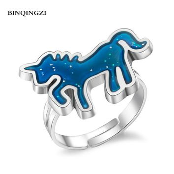BINQINGZI Unicorn color change Mood ring Emotion feeling ring for women Temperature control open Enamel Bague femme dropshipping