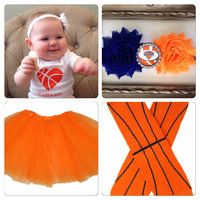 Orange Tutu and Basketball Girls Outfit