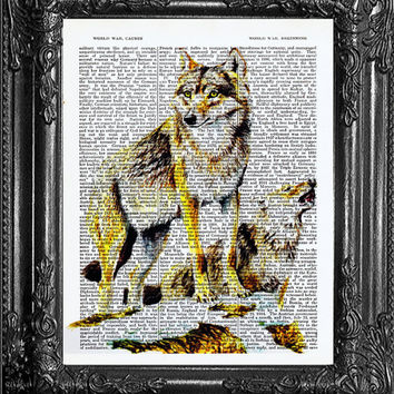 Gift Poster Wolves Gift Office Wall Decor Home Dorm Wall Decor Poster  Poster Gift Print Dictionary Print Page Art