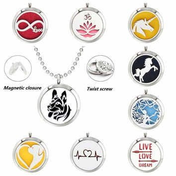 30mm lovely dog live love dream poppy diffuser locket pendant necklace 316 L Stainless Steel Perfume necklace with 10pad & chain