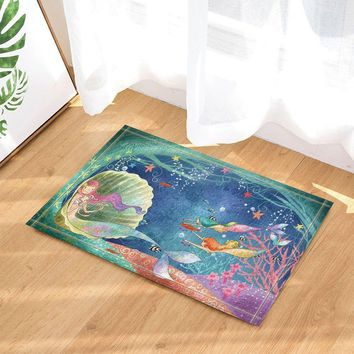 Autumn Fall welcome door mat doormat Three Beautiful Mermaids Swim under Sea and Conch Bath Rugs for Bathroom, Non-Slip Floor Entryways Outdoor Indoor Front  AT_76_7