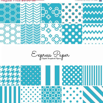 SALE Light Blue (Scooter) Digital Paper and Printable Scrapbooking Backgrounds - Digital Black Houndstooth, Polka Dot, Stripe, Chevron + Mor