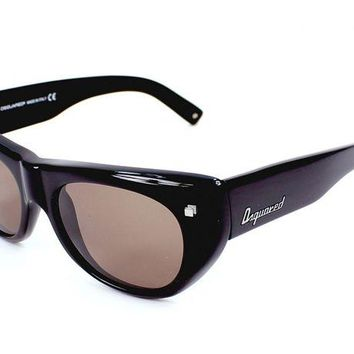 DCK4S2 DSquared2 Retro Sunglasses Black Frame with Brown Lenses DQ0107 01E