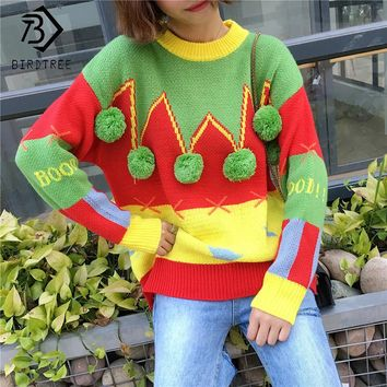 New 2017 Hit Color Winter Women Long Sleeves Christmas Ugly Sweater Spliced Sweet Pullovers Knitted O-Neck For Girl Tops C7O520A